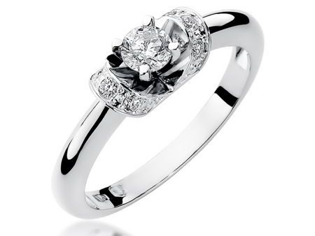 Pierścionek białe złoto 14k na zaręczyny z brylantami