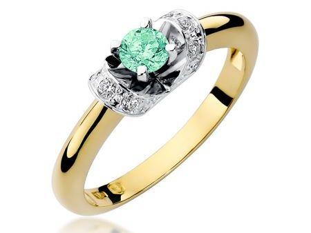 Pierścionek ze złota 14 k na zaręczyny z szmaragdem i brylantami