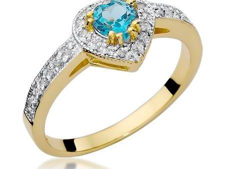 Złoty pierścionek zaręczynowy pr.0,585 serduszko topaz brylanty