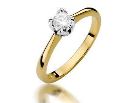 Złoty pierścionek na zaręczyny pr.0,585 z diamentem