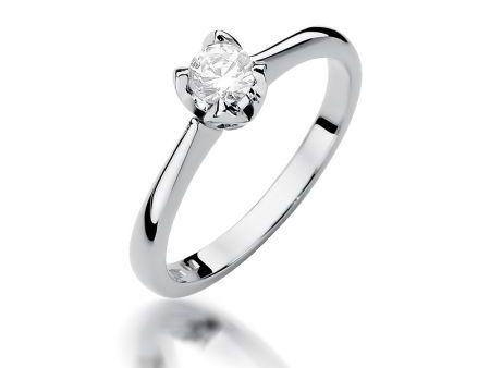Złoty pierścionek na zaręczyny pr.0,585 z diamentem białe złoto pr.0,585