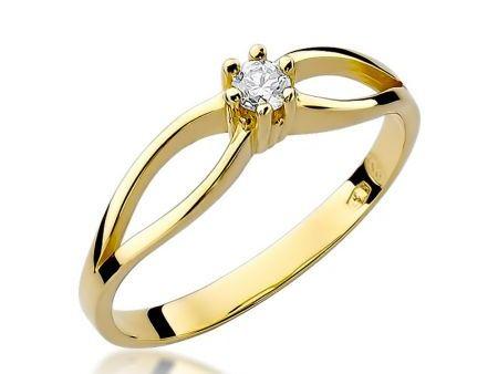 Pierścionek ze złota 14 ct z diamentem na zaręczyny