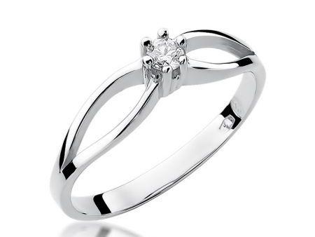 Pierścionek z białego złota 14 ct z diamentem na zaręczyny
