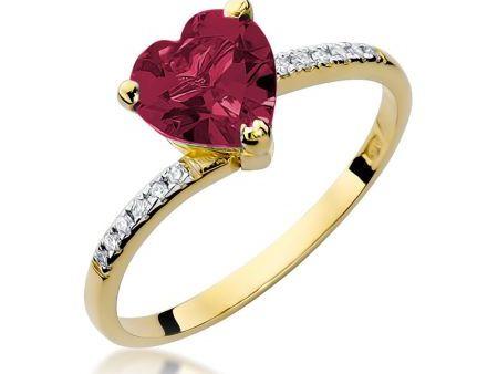Pierścionek z rubinowym serduszkiem i brylantami złoto pr.0,585