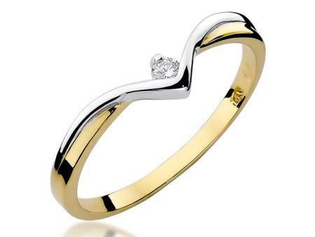Pierścionek z klasycznego żółtego i białego złota z brylantem na zaręczyny