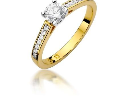 Pierścionek zaręczynowy z klasycznego złota pr.0,585 z diamentami
