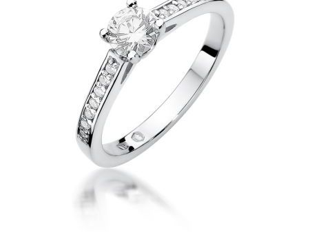 Pierścionek zaręczynowy z białego złota pr.0,585 z brylantami