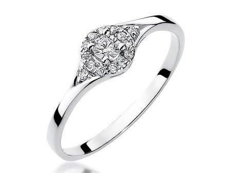 Złoty pierścionek zaręczynowy z białego złota pr.0,585 z diamentami