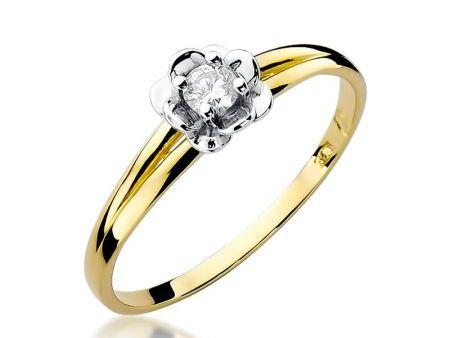 Złoty pierścionek zaręczynowy z diamentem żółte białe złoto pr.0,585