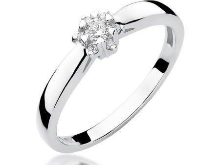 Delikatny pierścionek zaręczynowy z białego złota pr.0,585 z brylantem