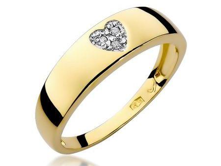 Pierścionek w formie obrączki z serduszkiem z diamentów złoto pr.0,585