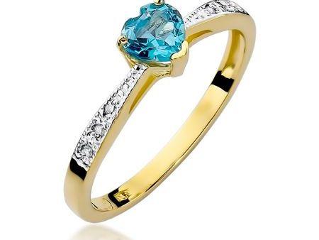 Pierścionek zaręczynowy z cudownym topazem błękitnym i brylantami zaręczyny zloto pr.0,585