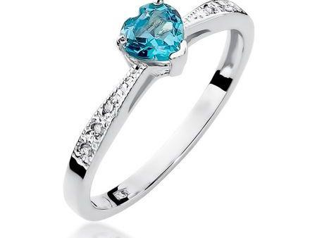 Pierścionek zaręczynowy z cudownym topazem błękitnym i diamentami zaręczyny złoto białe pr.0,585