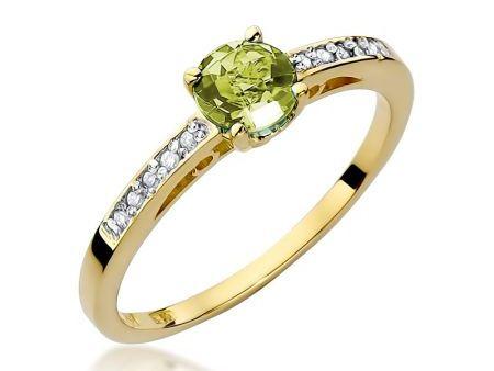 Pierścionek ze złota na zaręczyny z oliwinem i brylantami