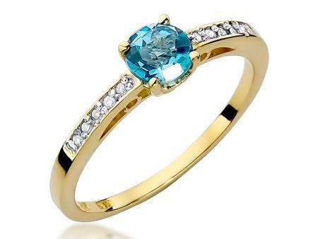 Złoty pierścionek 14 ct złoto z topazem naturalnym i brylantami
