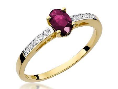 Pierścionek na zaręczyny ze złota pr.0,585 z rubinem i brylantami