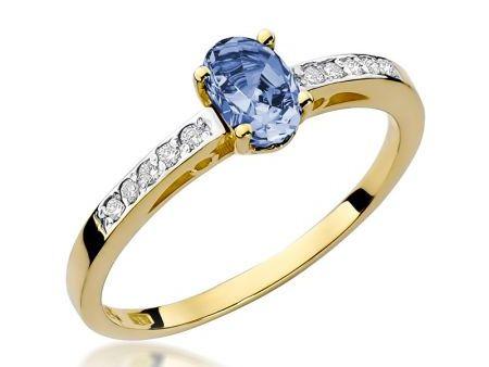 Złoty pierścionek pr.0,585 z tanzanitem i brylantami