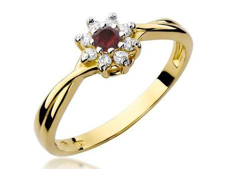 Pierścionek ze złota pr.0,585 na zaręczyny z diamentami i rubinem