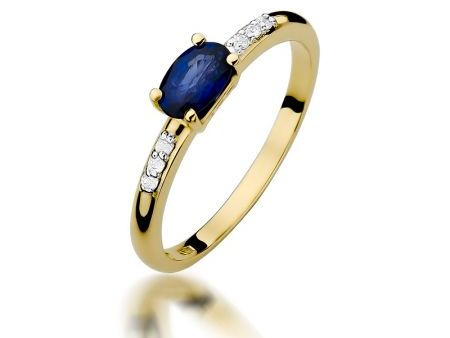 Pierścionek zaręczynowy z klasycznego złota pr.0,585 z szafirem i cyrkoniami