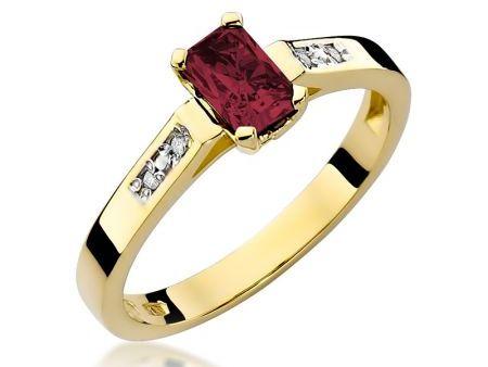 Złoty pierścionek na zaręczyny pr.0,585 z rubinem i brylantami