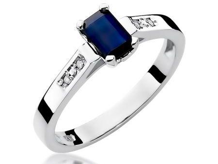 Zaręczynowy pierścionek z białego złota pr.0,925 z szafirem i brylantami