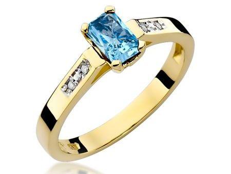 Pierścionek zaręczynowy z klasycznego złota pr.0,585 z topazem błękitnym i brylantami
