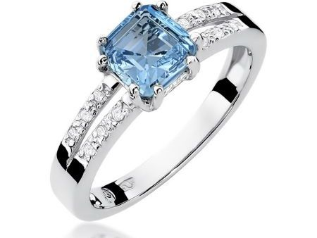 Pierścionek zaręczynowy białe złoto topaz brylanty