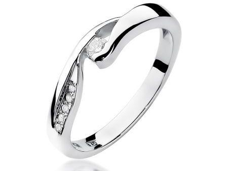 Pierścionek na zaręczyny z białego złota pr.0,585 z brylantami