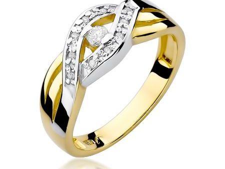Przepiękny pierścionek ze złota pleciona obrączka pr.0,585 z brylantami