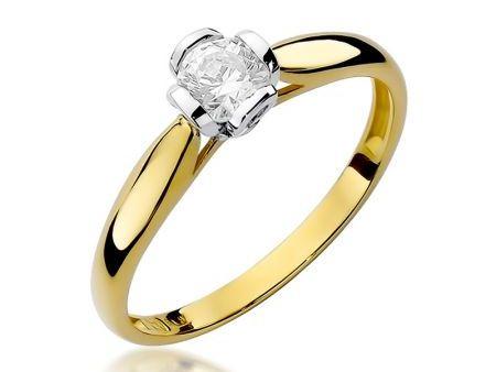 Złoty pierścionek zaręczynowy z brylantem na zaręczyny