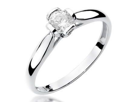 Pierścionek z białego złota pr.0,585 z brylantem zaręczyny