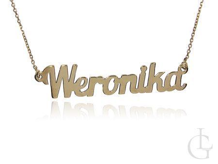 Weronika łańcuszek celebrytka ze srebra pozłacanego pr.0,925 z imieniem