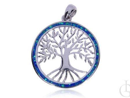 Drzewko szczęścia wisiorek ze srebra rodowanego pr.0,925 z opalem błękitnym