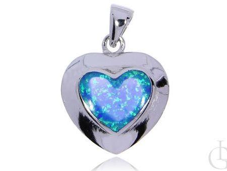 Serce wisior ze srebra rodowanego pr.0,925 z opalem błękitnym