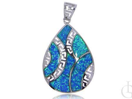 Wisior ze srebra rodowanego pr.0,925 z opalem błękitnym