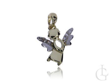 Złoty wisiorek pr.0,925 aniołek z cyrkoniami na prezent
