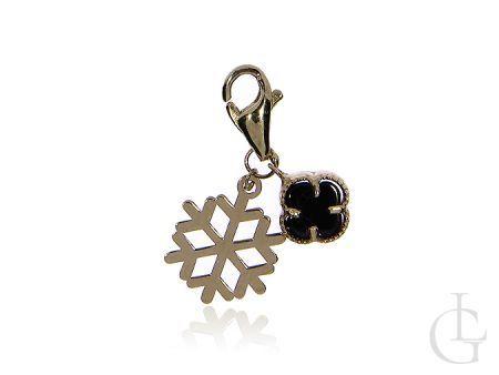 Złota przywieszka charms pr.0,585 do bransoletki modułowej ze śnieżynką