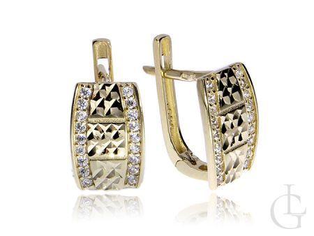 Efektowne złote kolczyki pr.0,585 angielskie zapięcia z cyrkoniami diamentowane