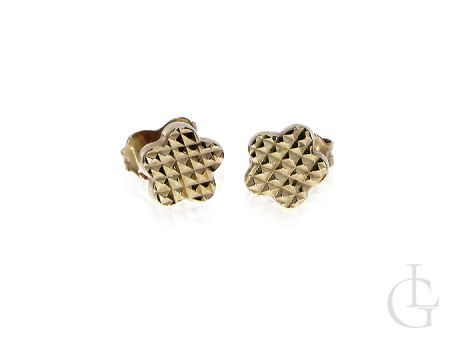 Kolczyki ze złota pr.0,585 diamentowane kwiatuszki