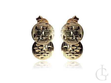 Kolczyki złote pr.0,585 kółeczka na sztyft diamentowane