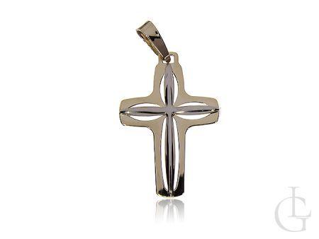 Krzyżyk ze złota pr.0,585 na prezent, Komunię Świętą, Chrzciny, Bierzmowanie, białe złoto, żółte złoto