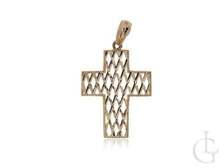 Krzyżyk ze złota pr.0,925 ażurowy z diamentowanym wykończeniem