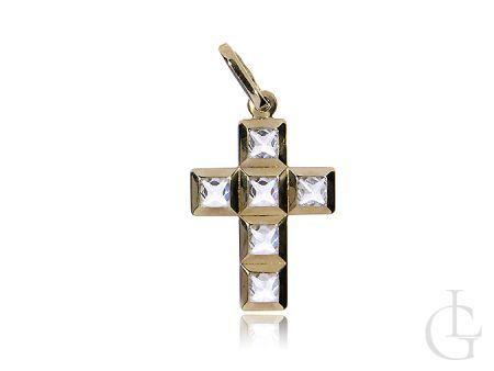 Piękny krzyżyk z klasycznego złota z cyrkoniami