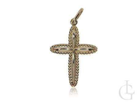 Krzyżyk z klasycznego złota pr.0,585 z młotkowanym wykończeniem