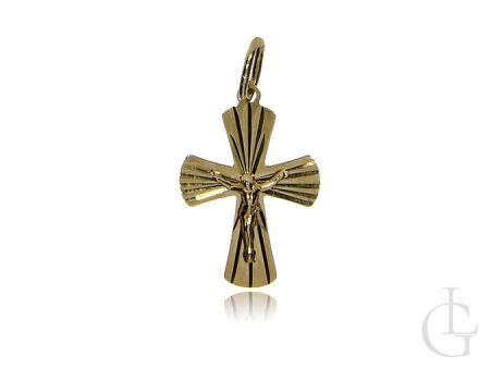 Złoty krzyżyk pr.0,585 z wizerunkiem Pana Jezusa na prezent I Komunia Święta, Bierzmowanie, Chrzest