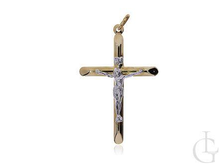 Duży krzyżyk ze złota pr.0,585 z wizerunkiem Pana Jezusa