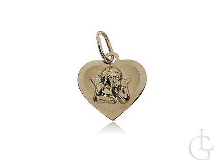 Złote serduszko z Aniołem Stróżem złotoo pr.0,585 Komunia Święta, Chrzciny, prezent
