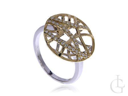Piękny pierścionek ze złota pr.0,585 z cyrkoniami