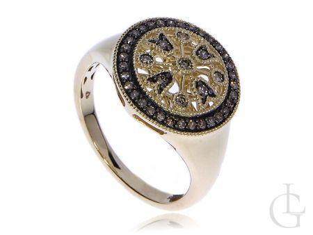 Złoty pierścionek pr.0,585 z szampańskimi diamentami