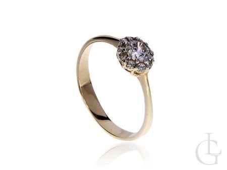 Złoty pierścionek zaręczynowy z cyrkoniami klasyczne złoto pr.0,585
